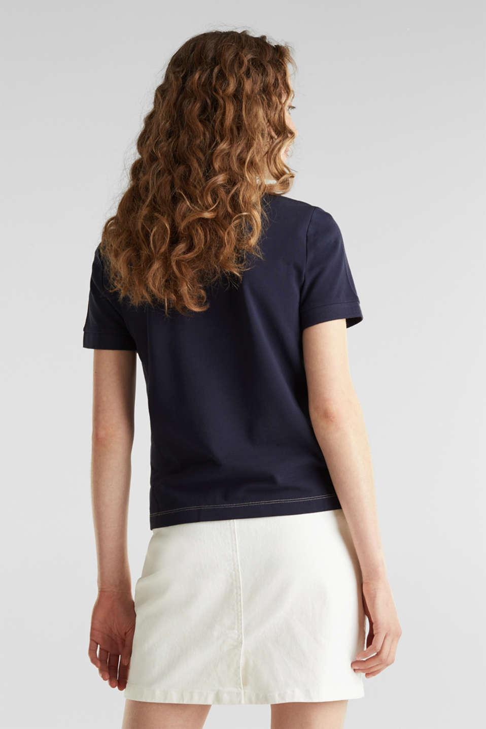 Piqué top, 100% cotton, NAVY, detail image number 2