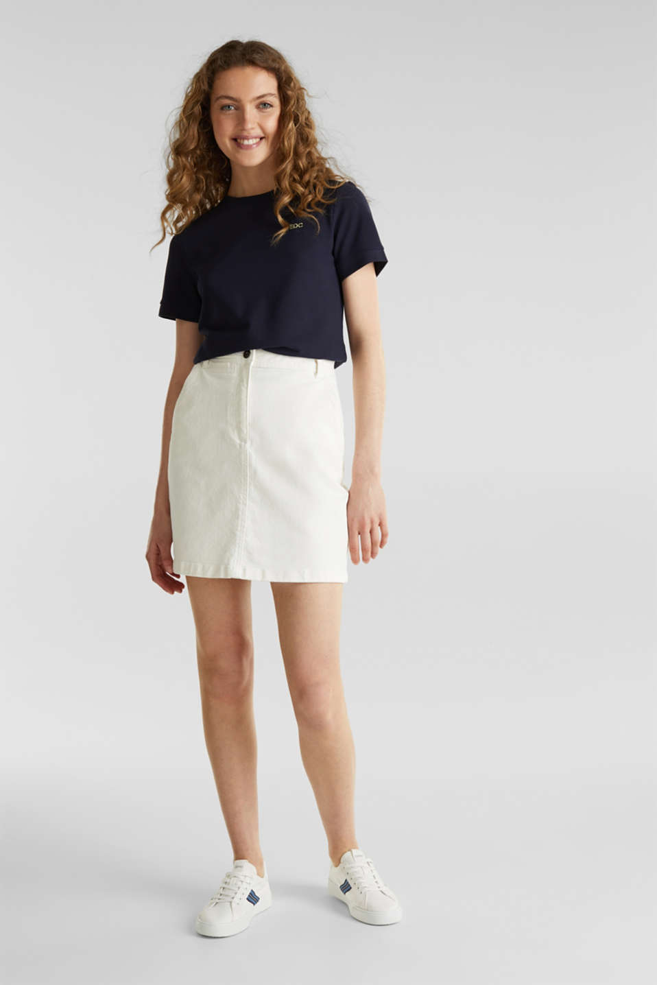 Piqué top, 100% cotton, NAVY, detail image number 1