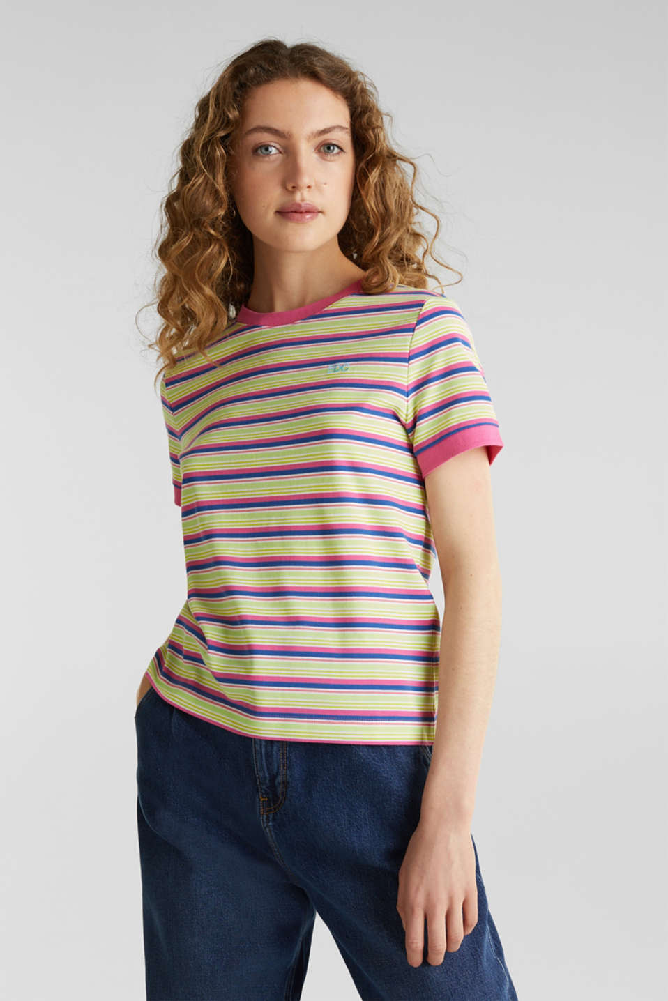 Piqué T-shirt in 100% cotton, PINK FUCHSIA, detail image number 0