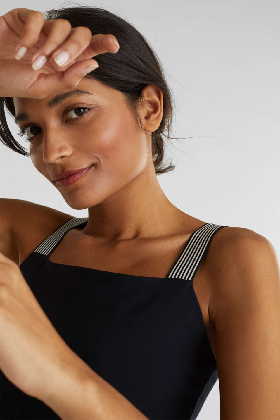 Stretch top with striped straps, BLACK, detail image number 4