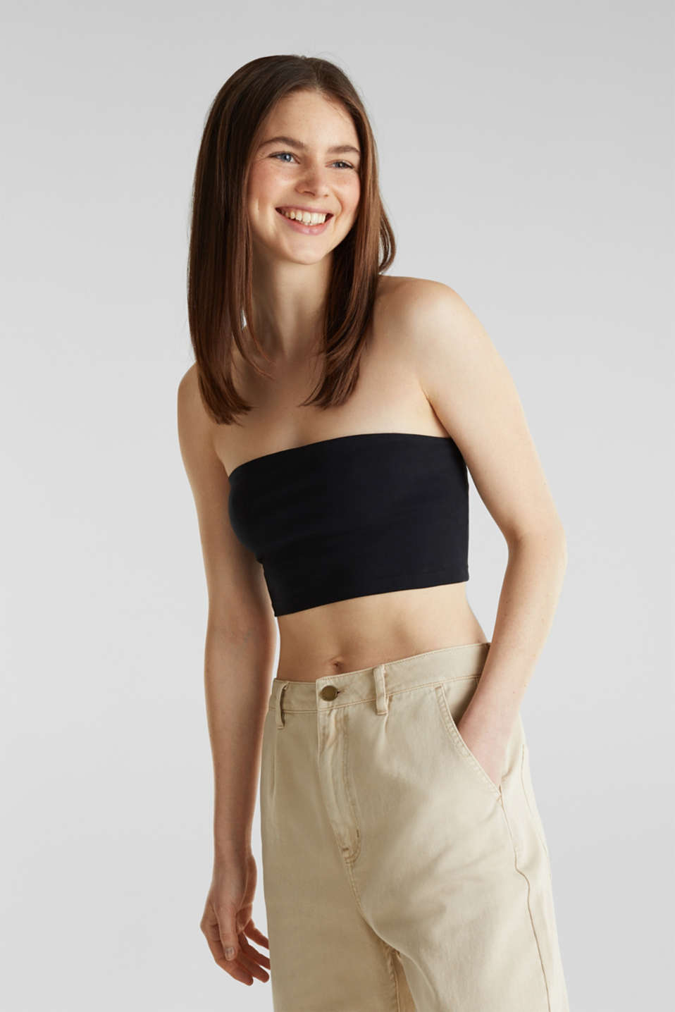 Stretch jersey bandeau top, BLACK, detail image number 0