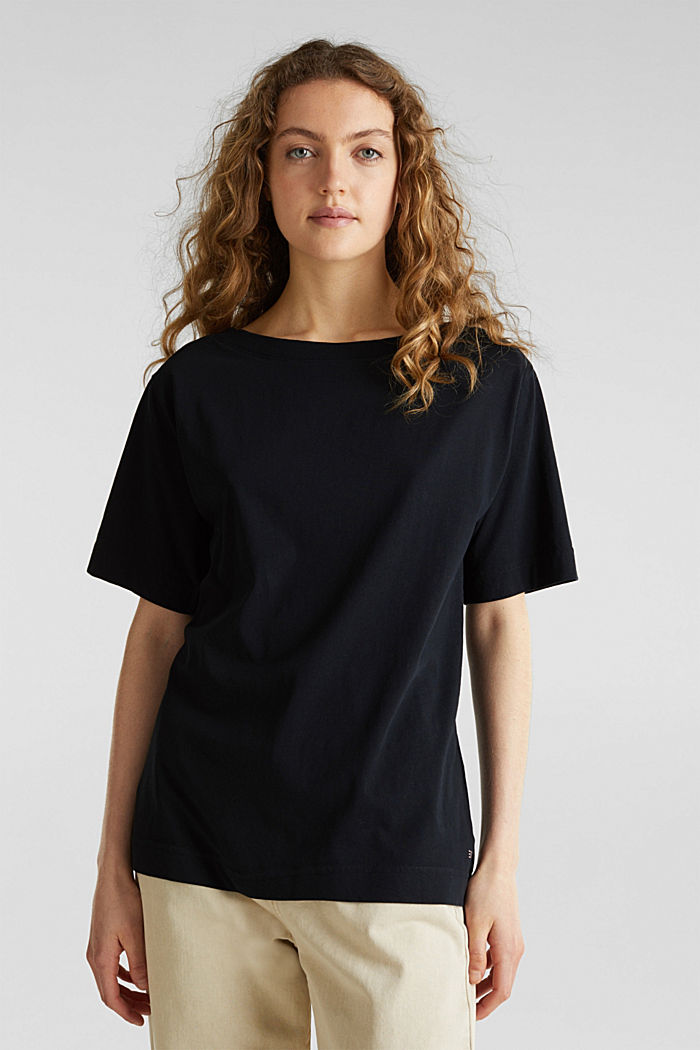 T-shirt in a washed look, 100% cotton, BLACK, detail image number 0