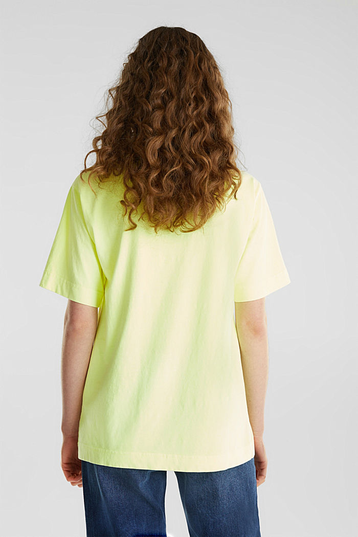 Shirt im Washed-Look, 100% Baumwolle, LIME YELLOW, detail image number 2
