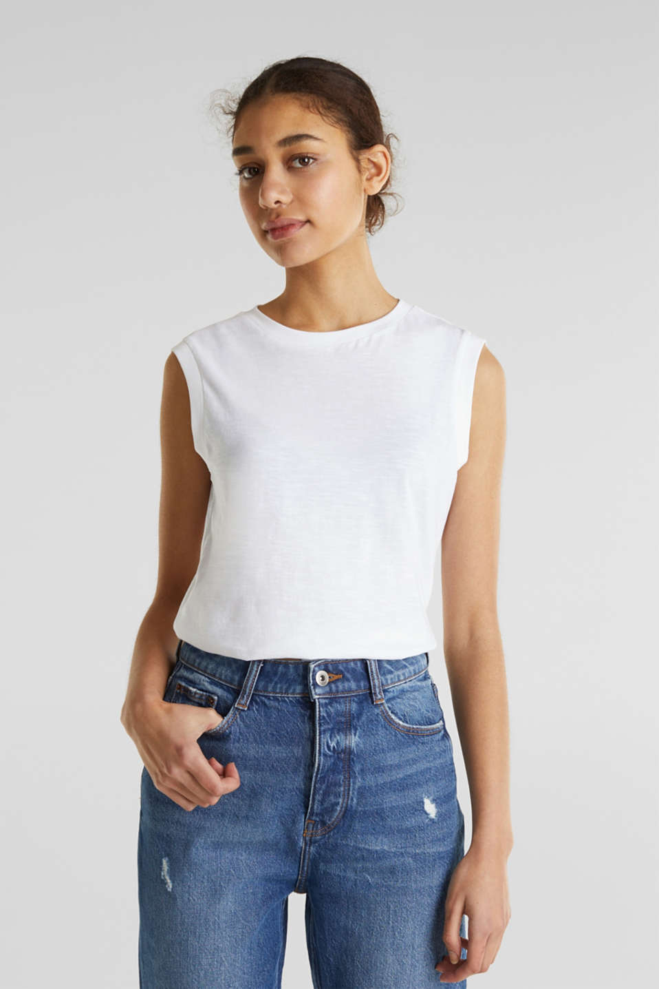 Top made of 100% organic cotton, WHITE, detail image number 0