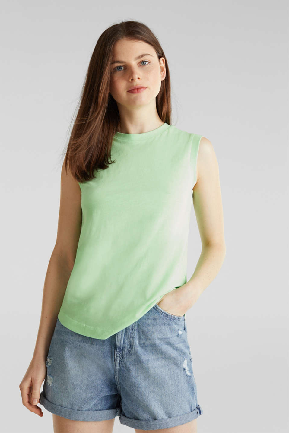 edc - Top van slub jersey, 100% organic cotton