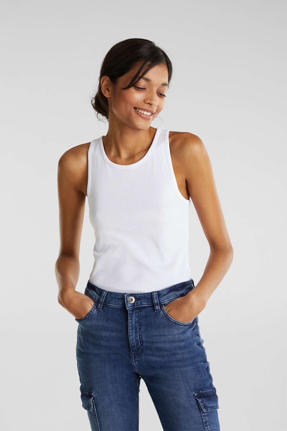 edc - Stretch-Top mit Organic Cotton