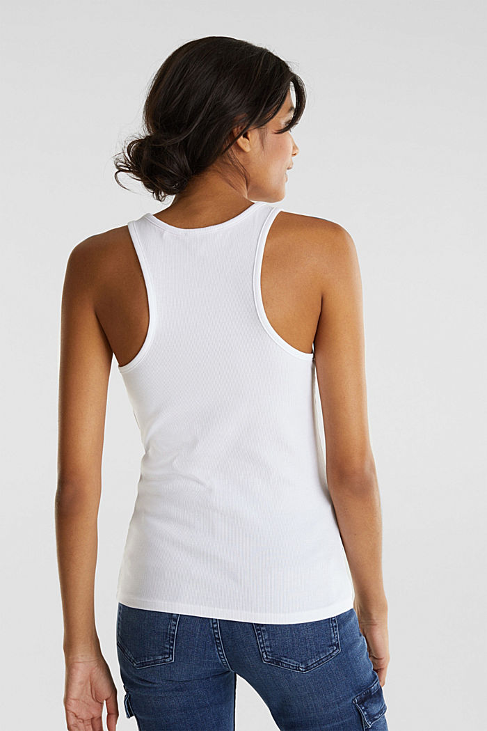 Stretch-Top mit Organic Cotton, WHITE, detail image number 3