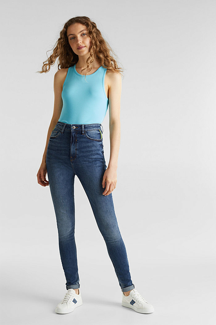 Stretch top with organic cotton, TURQUOISE, detail image number 1