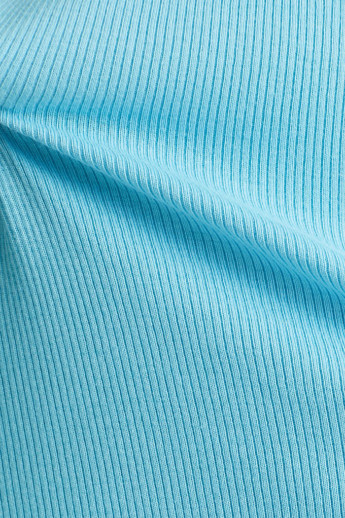 Stretch top with organic cotton, TURQUOISE, detail image number 4