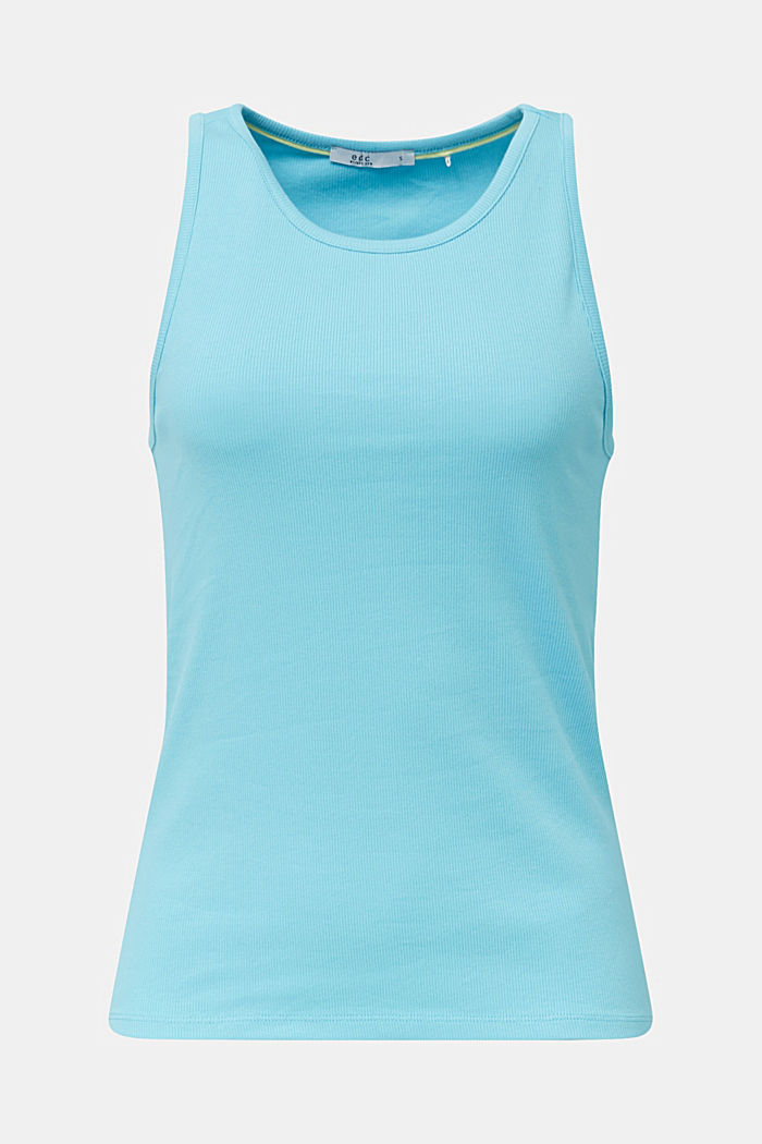 Stretch-Top mit Organic Cotton, TURQUOISE, detail image number 0