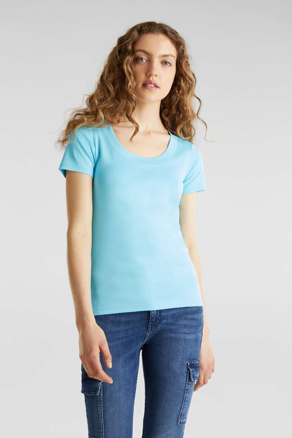 T-shirt containing organic cotton, TURQUOISE 4, detail image number 0