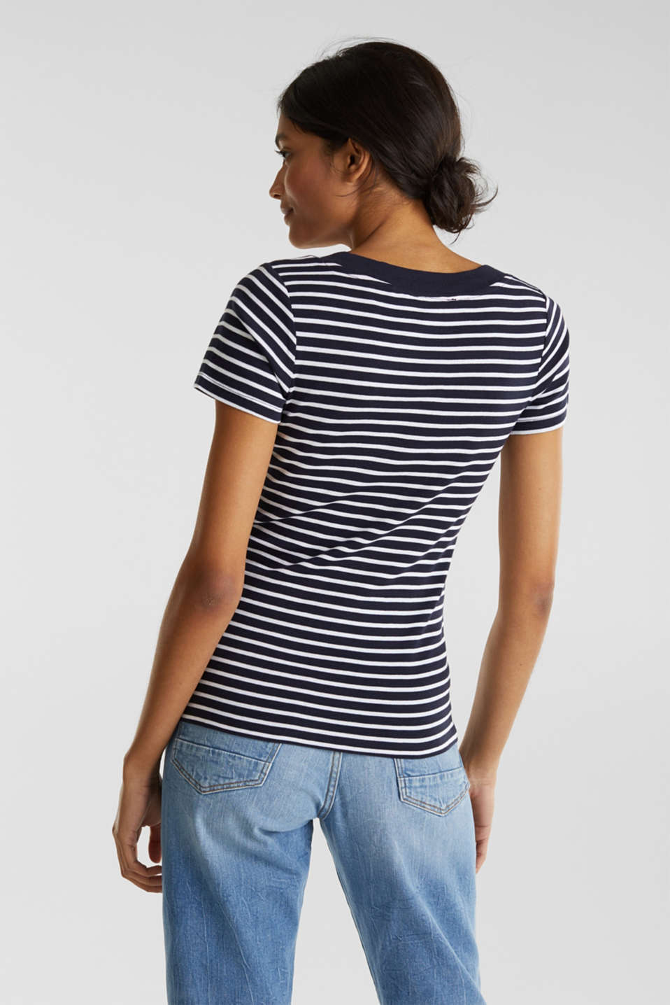 T-shirt containing organic cotton, NAVY, detail image number 2