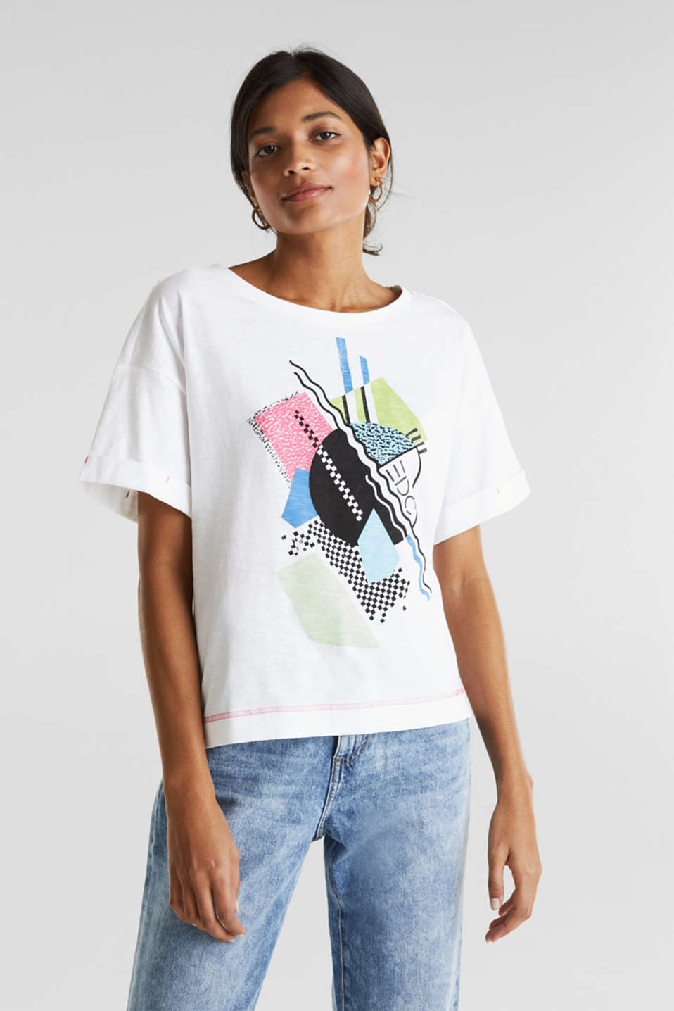 Printed slub T-shirt containing organic cotton, WHITE, detail image number 0