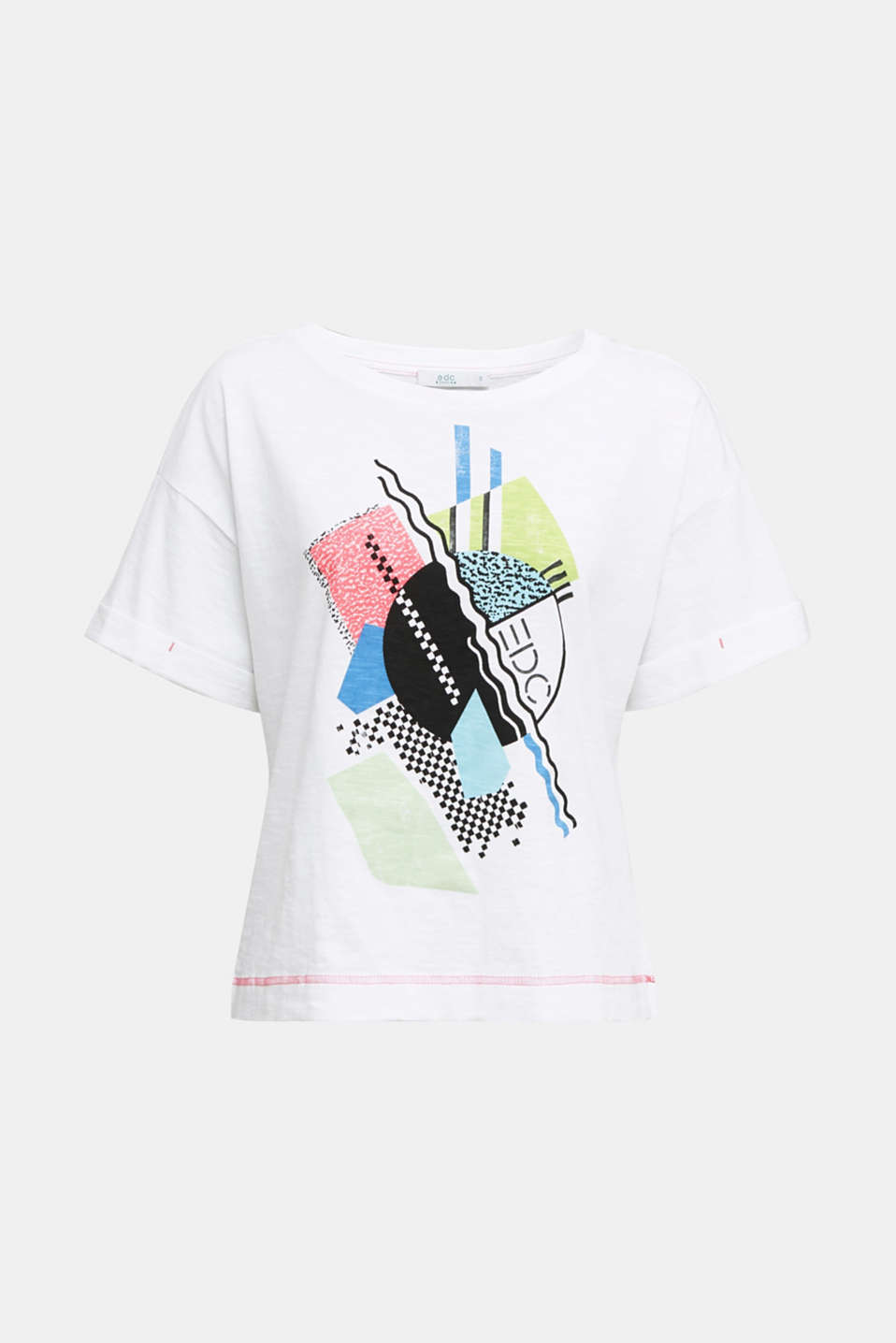 Printed slub T-shirt containing organic cotton, WHITE, detail image number 5