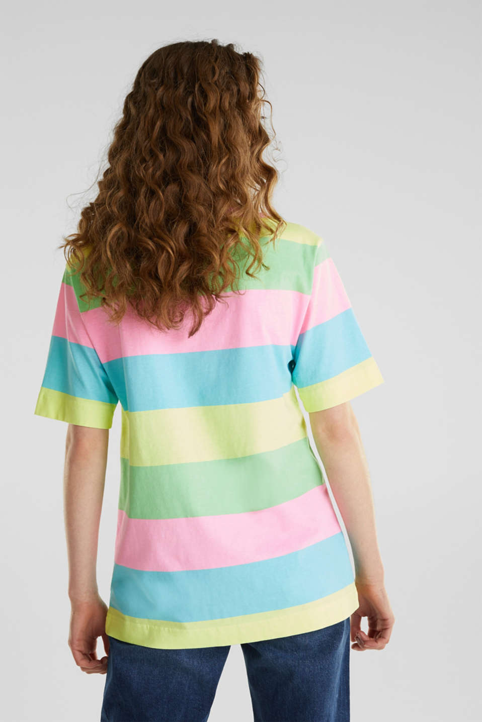 T-shirt with block stripes, 100% cotton, LIME YELLOW, detail image number 2