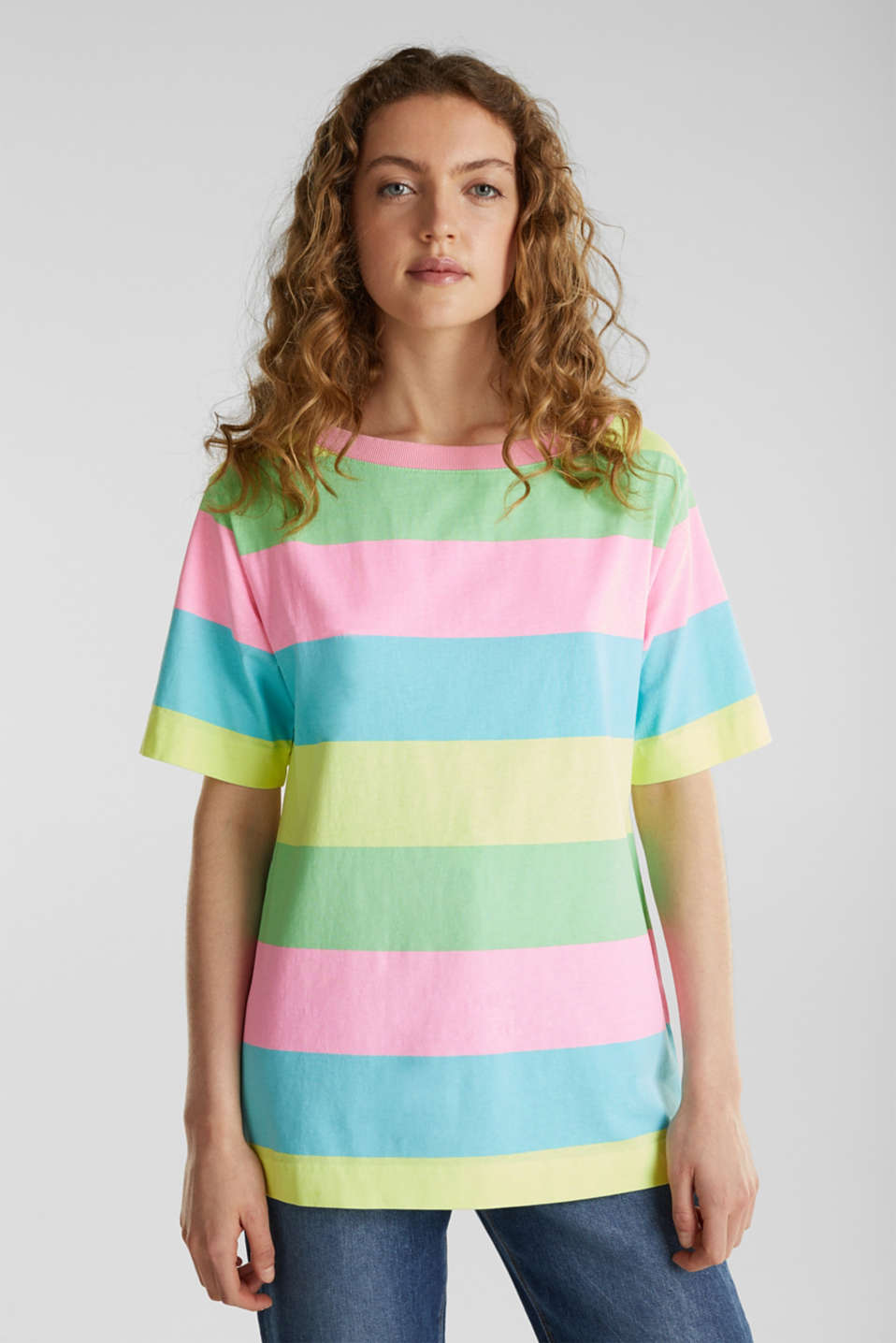 T-shirt with block stripes, 100% cotton, LIME YELLOW, detail image number 4