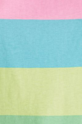 T-shirt with block stripes, 100% cotton, LIME YELLOW, detail