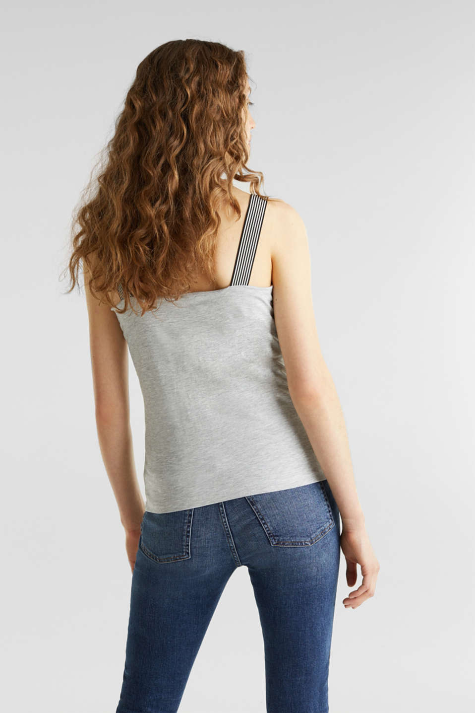 Strappy top with organic cotton, LIGHT GREY 5, detail image number 3