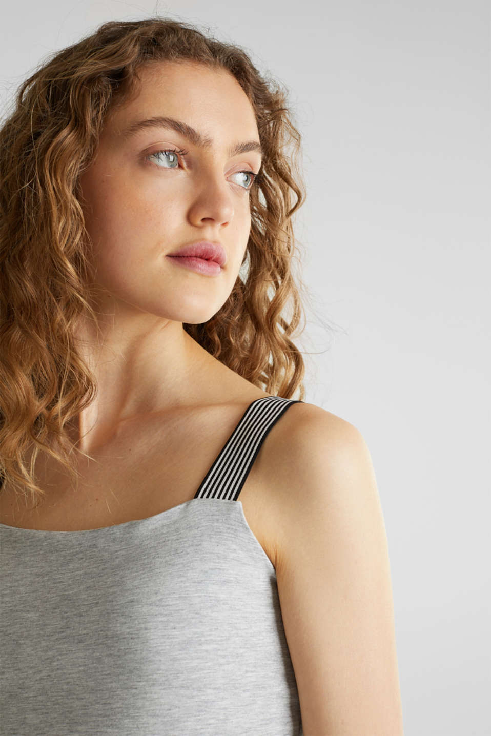 Strappy top with organic cotton, LIGHT GREY 5, detail image number 2