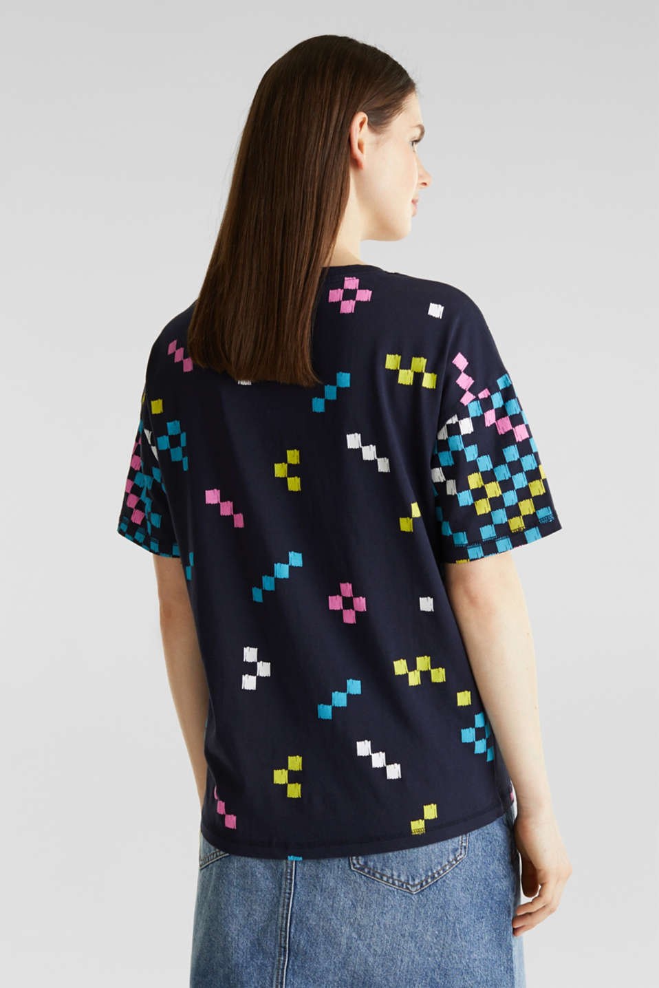 Printed top in 100% cotton, NAVY, detail image number 3