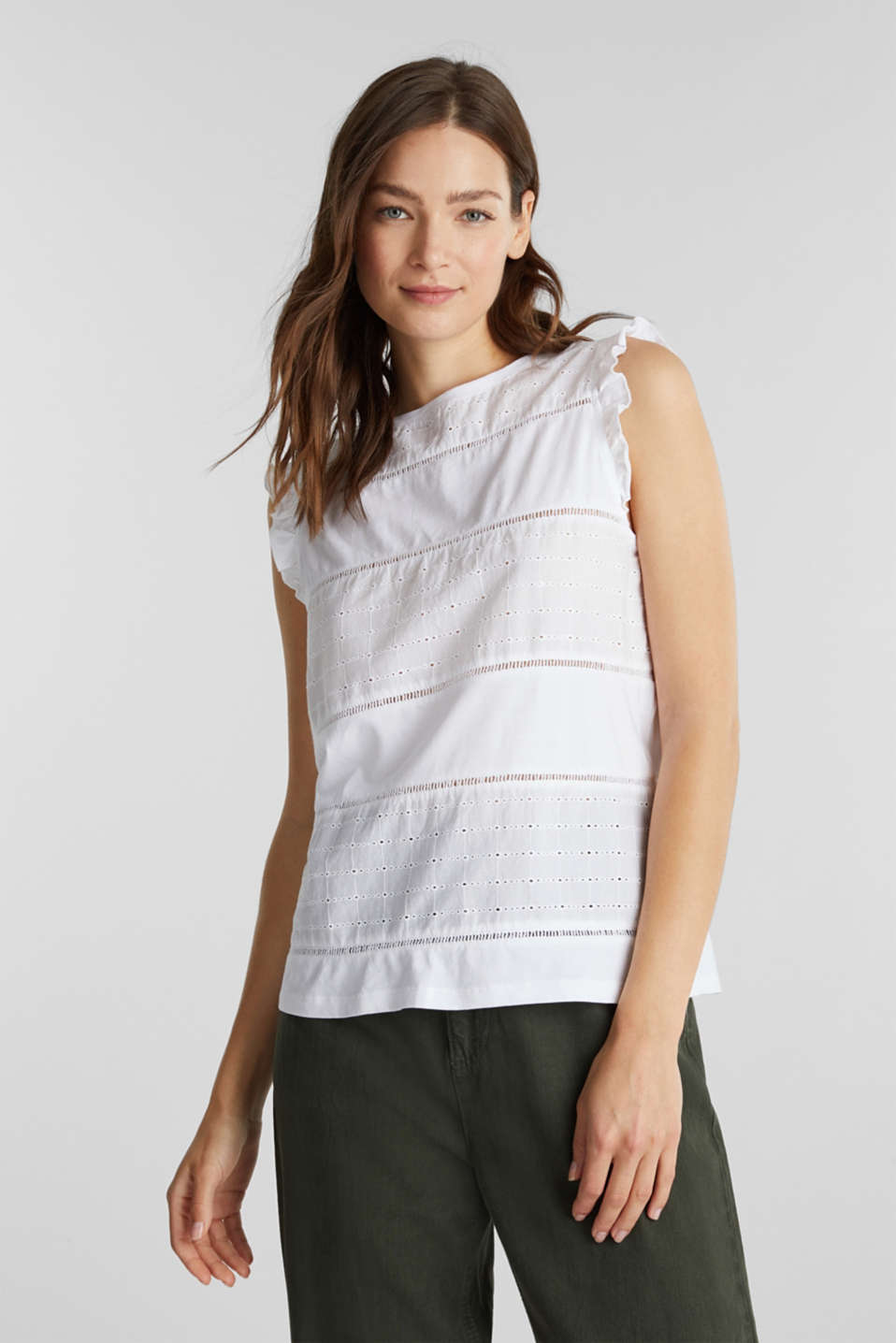 edc - T-shirt met broderie anglaise