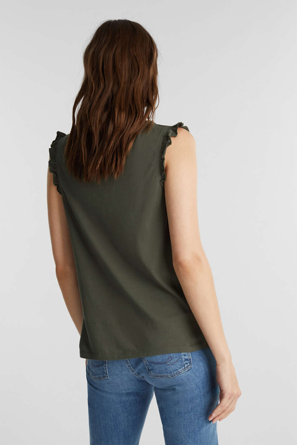 Top with broderie anglaise, KHAKI GREEN, detail image number 3