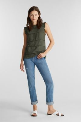 Top with broderie anglaise, KHAKI GREEN, detail