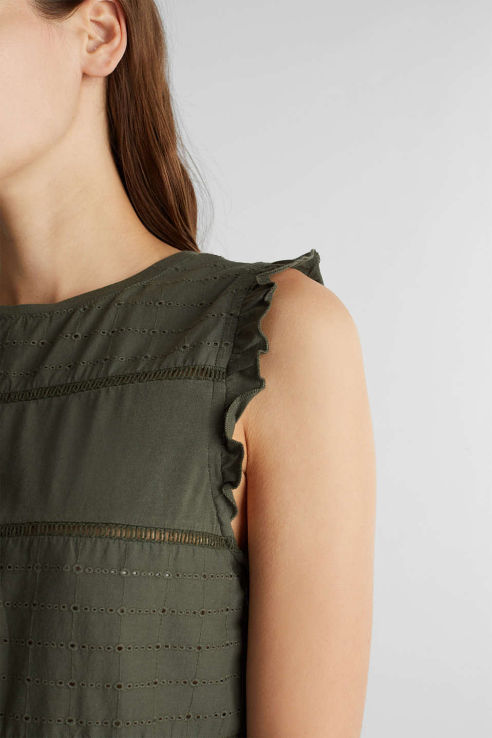 Top with broderie anglaise, KHAKI GREEN, detail image number 2