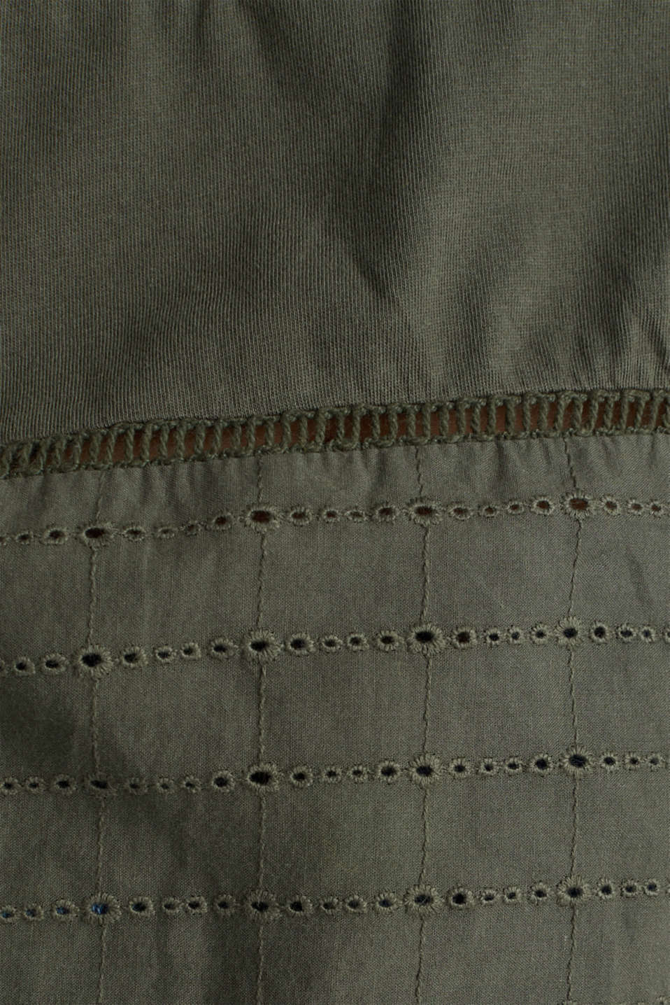 Top with broderie anglaise, KHAKI GREEN, detail image number 4