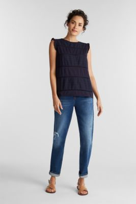 Top with broderie anglaise, NAVY, detail