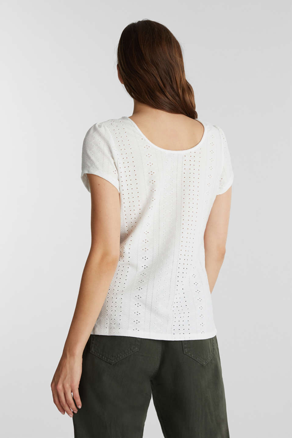 T-shirt with broderie anglaise, OFF WHITE, detail image number 2