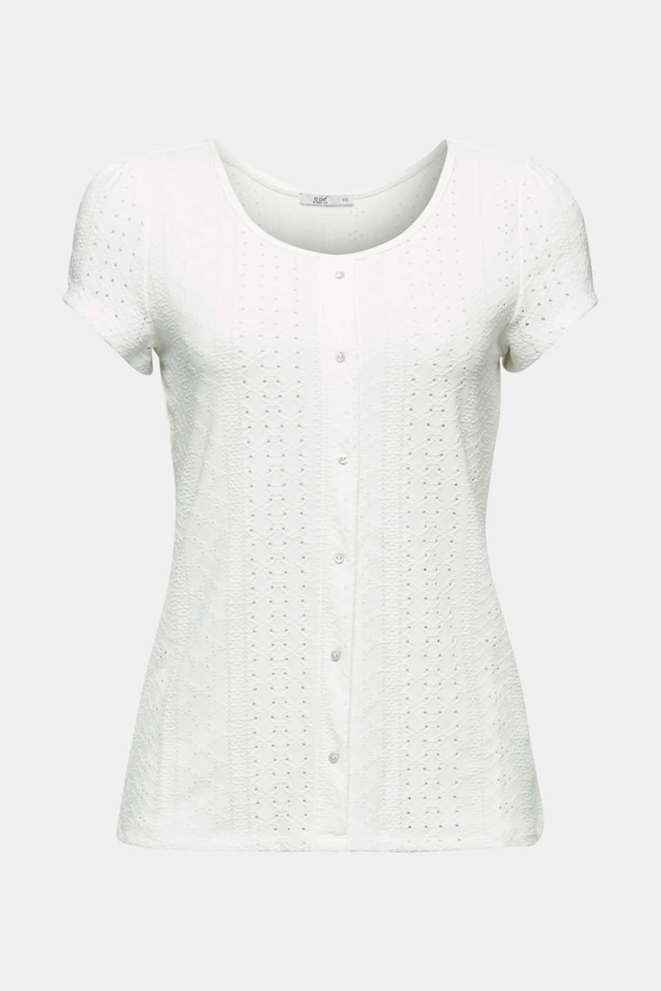 T-shirt with broderie anglaise, OFF WHITE, detail image number 5
