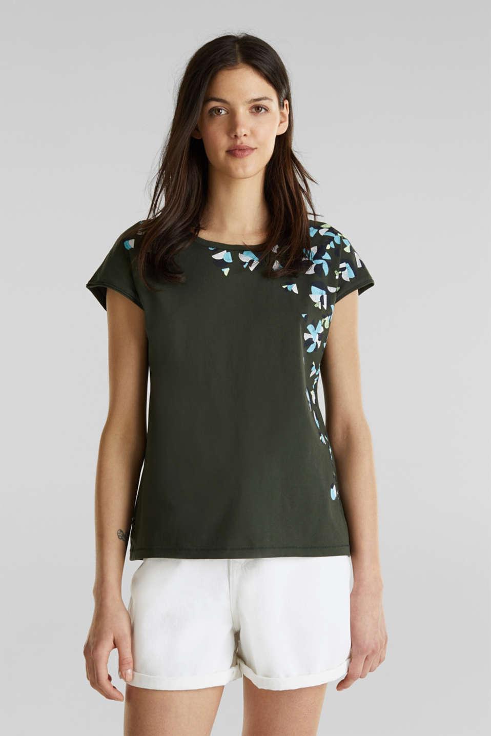 Printed T-shirt, 100% cotton, KHAKI GREEN, detail image number 0