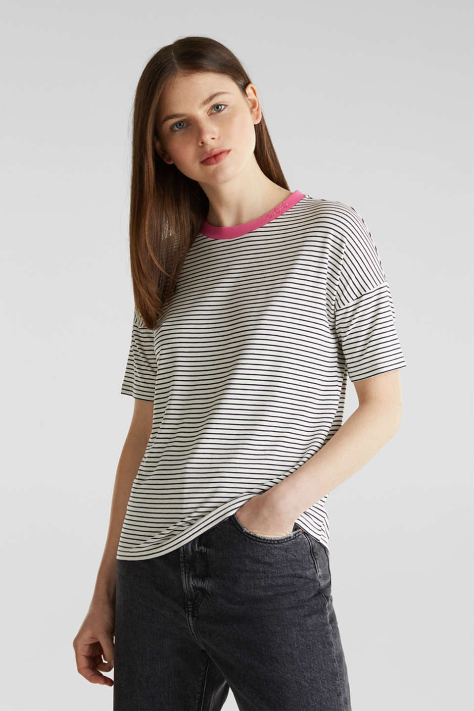 Striped T-shirt with stretch, OFF WHITE 2, detail image number 0