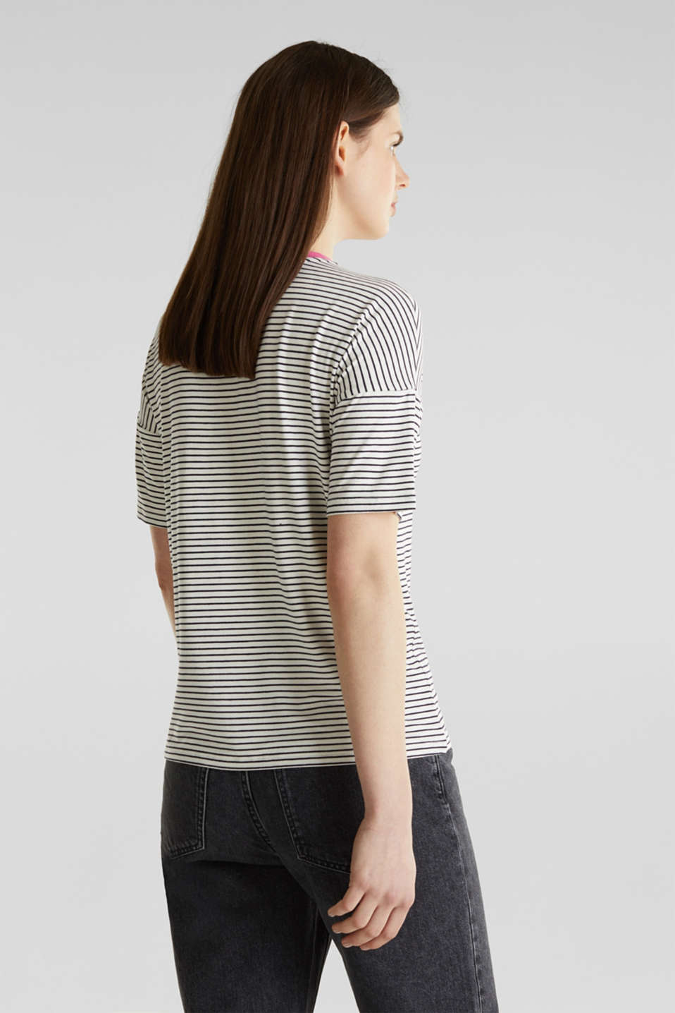 Striped T-shirt with stretch, OFF WHITE 2, detail image number 2