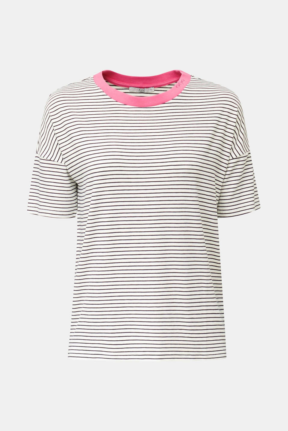 Striped T-shirt with stretch, OFF WHITE 2, detail image number 5
