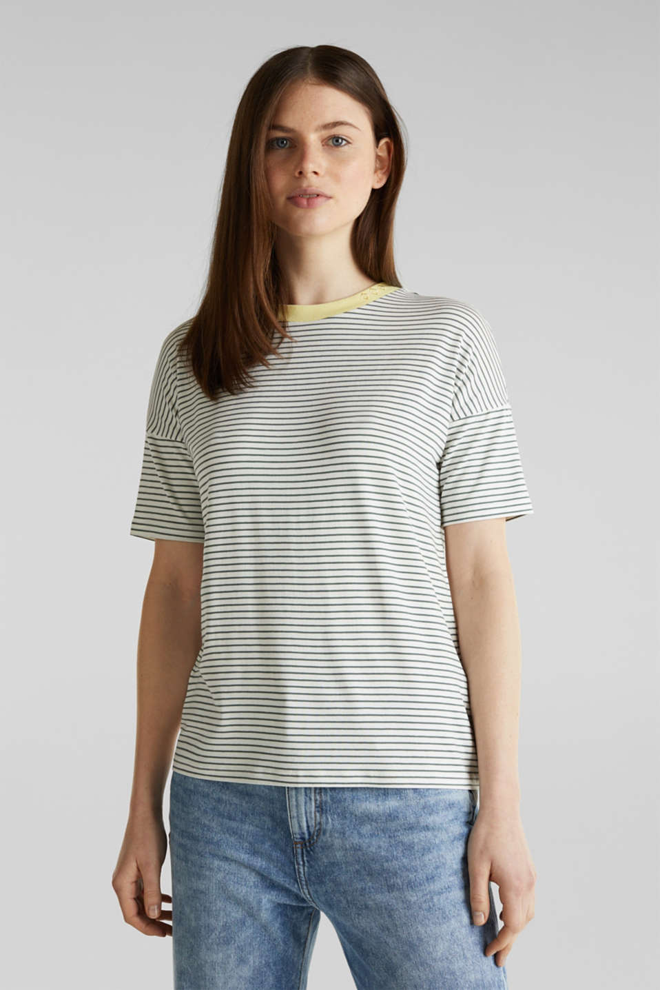 edc - Randig T-shirt med stretch