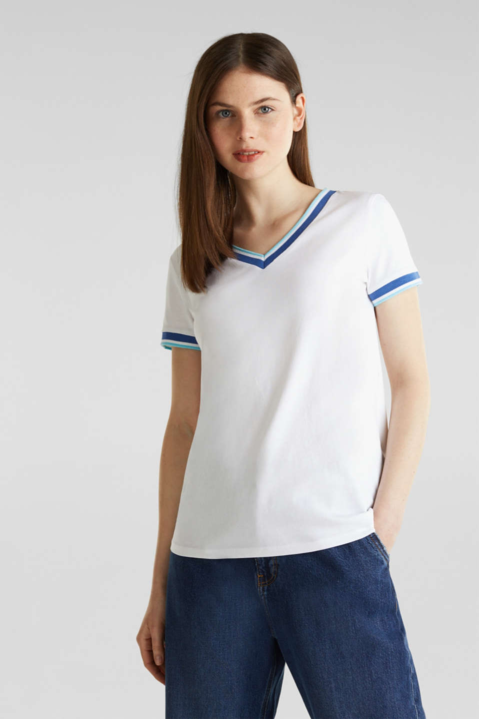 edc - Top with striped edges and organic cotton