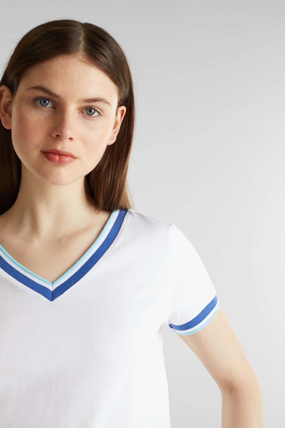 Top with striped edges and organic cotton, WHITE, detail image number 4