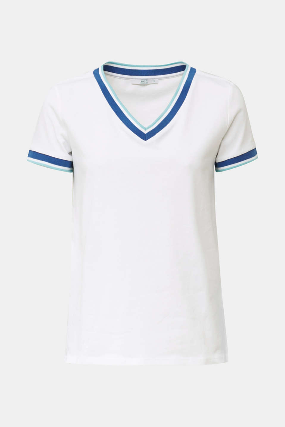 Top with striped edges and organic cotton, WHITE, detail image number 5