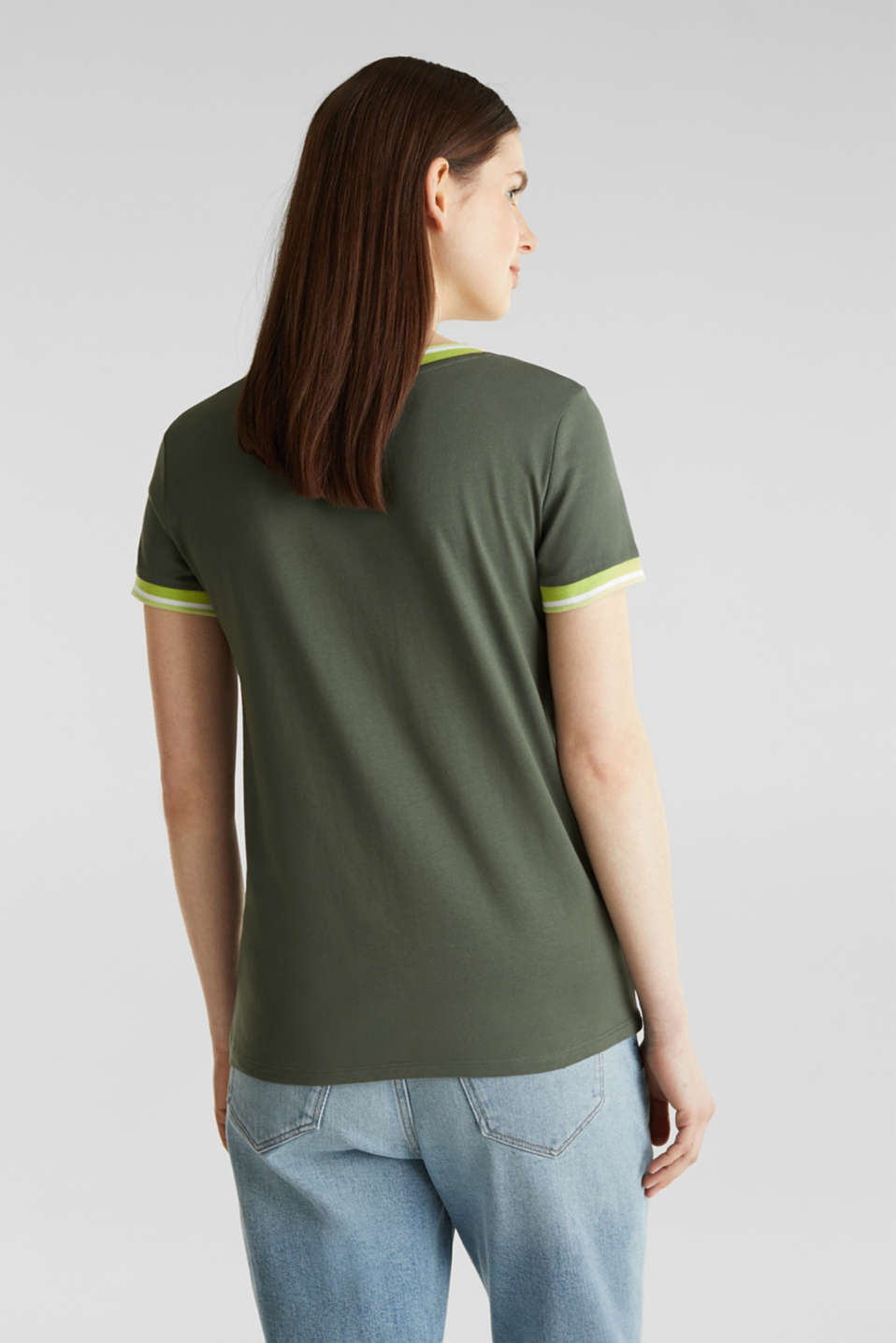 Top with striped edges and organic cotton, KHAKI GREEN, detail image number 2
