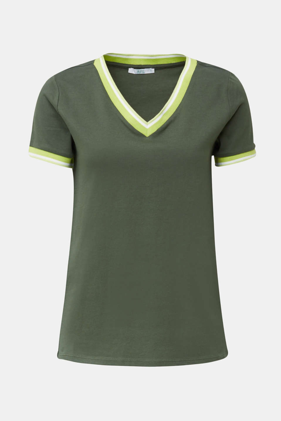 Top with striped edges and organic cotton, KHAKI GREEN, detail image number 5