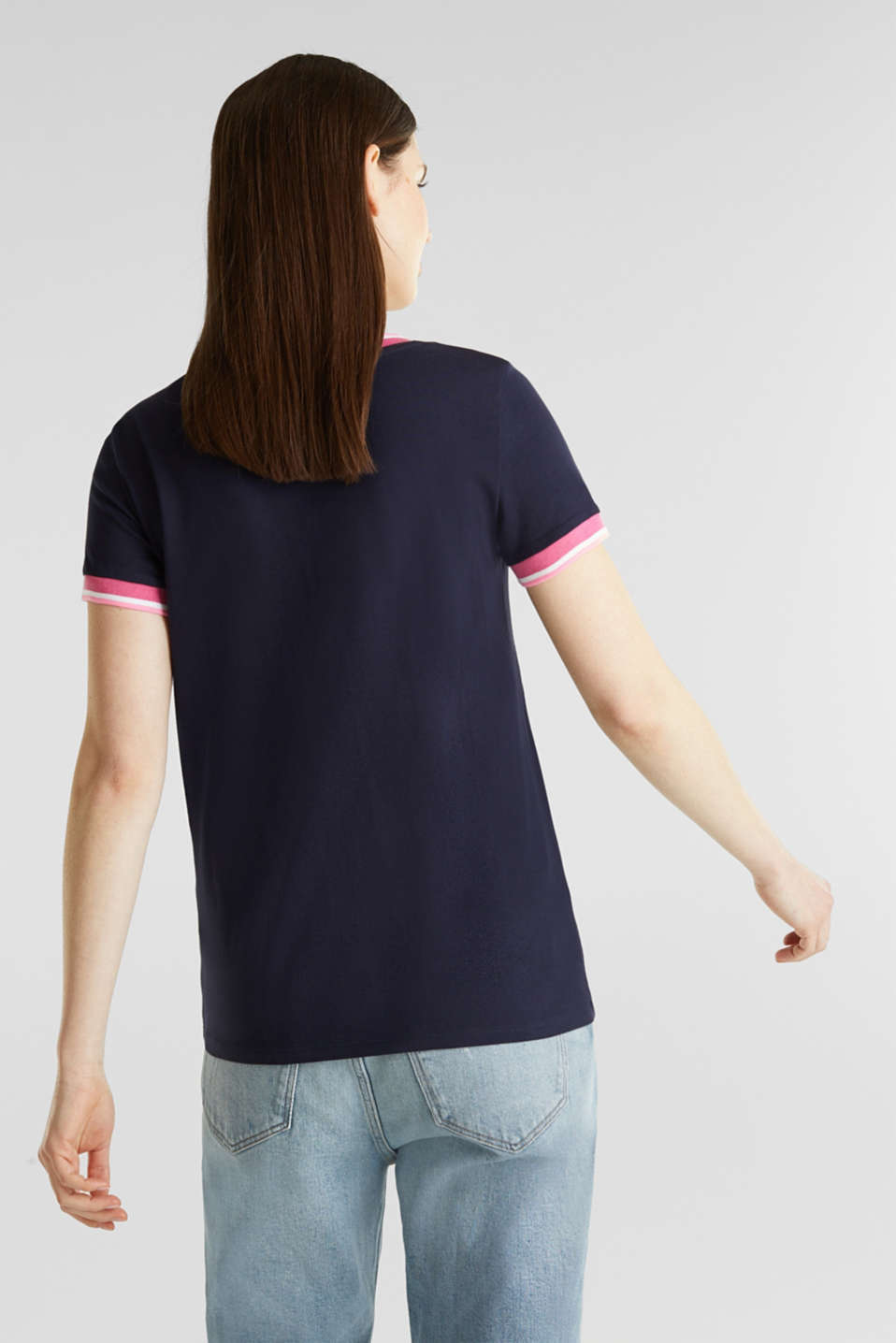 Top with striped edges and organic cotton, NAVY, detail image number 1