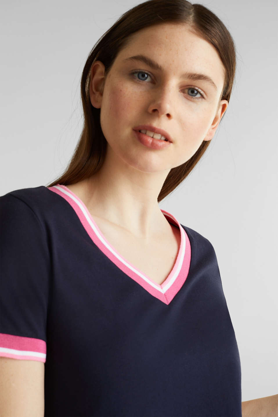 Top with striped edges and organic cotton, NAVY, detail image number 3
