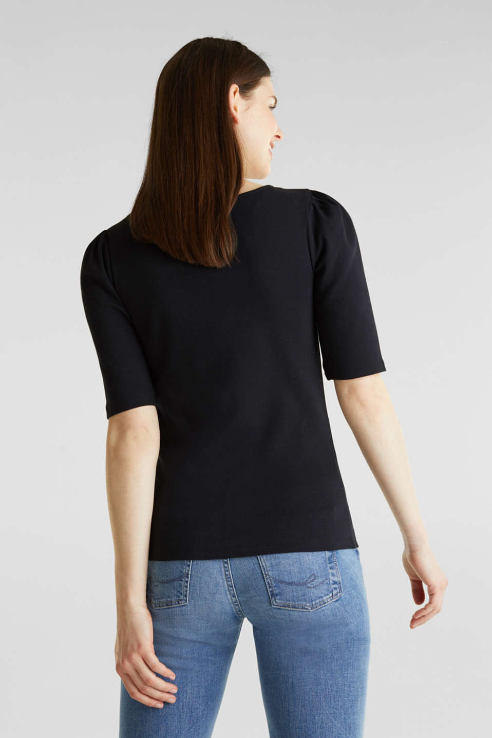 Stretch piqué top with puff sleeves, BLACK, detail image number 3
