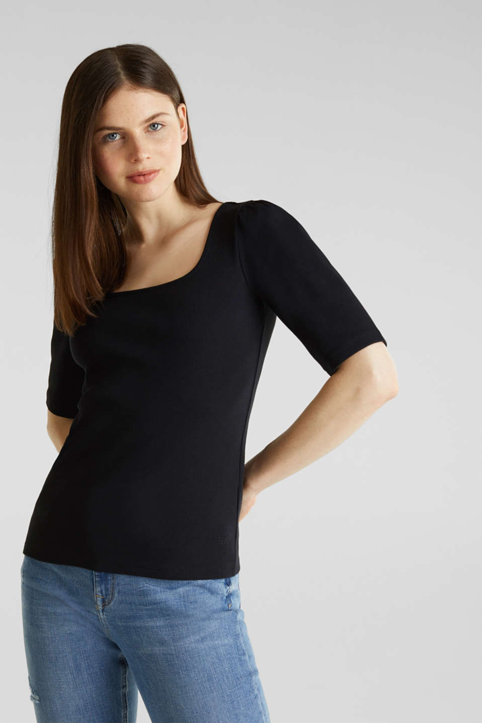 Stretch piqué top with puff sleeves, BLACK, detail image number 5