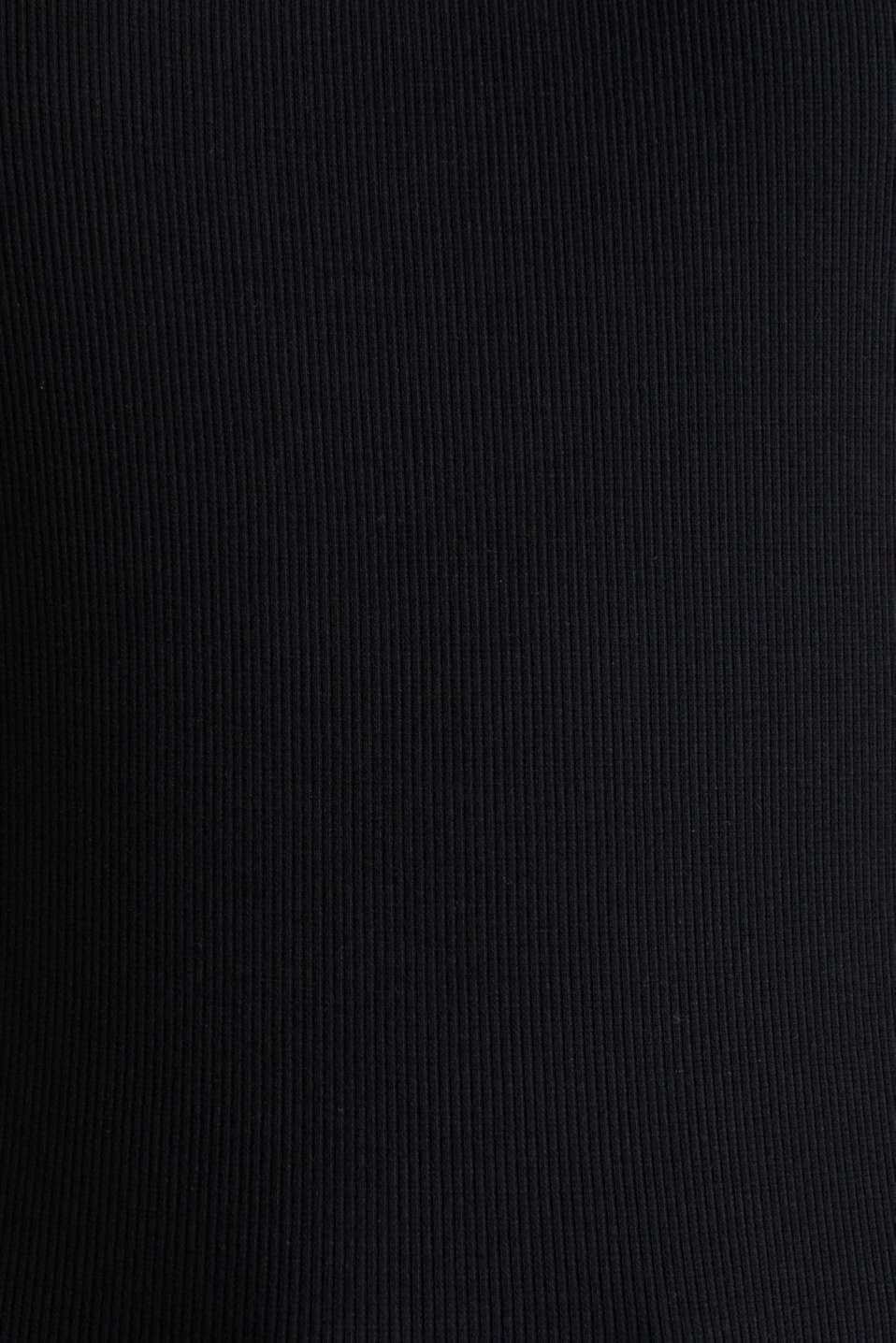 Stretch piqué top with puff sleeves, BLACK, detail image number 4