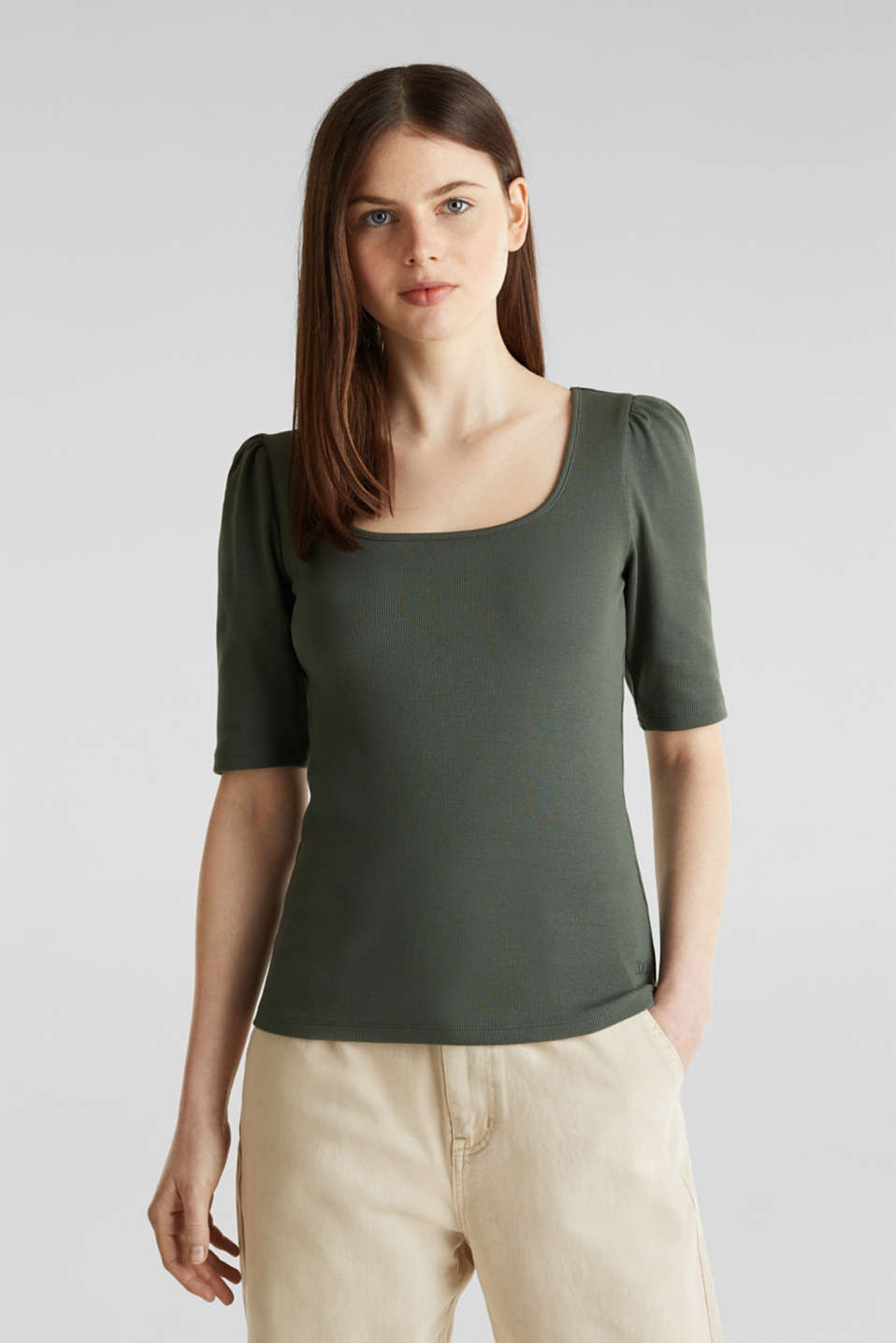 edc - Stretch piqué top with puff sleeves