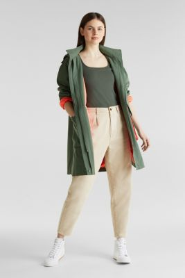 Stretch piqué top with puff sleeves, KHAKI GREEN, detail