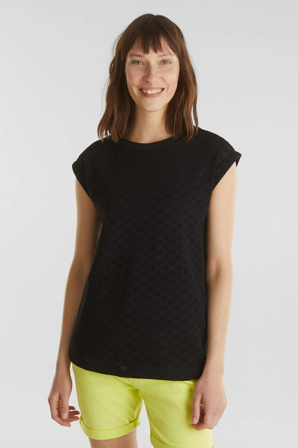 Openwork top made of 100% cotton, BLACK, detail image number 0